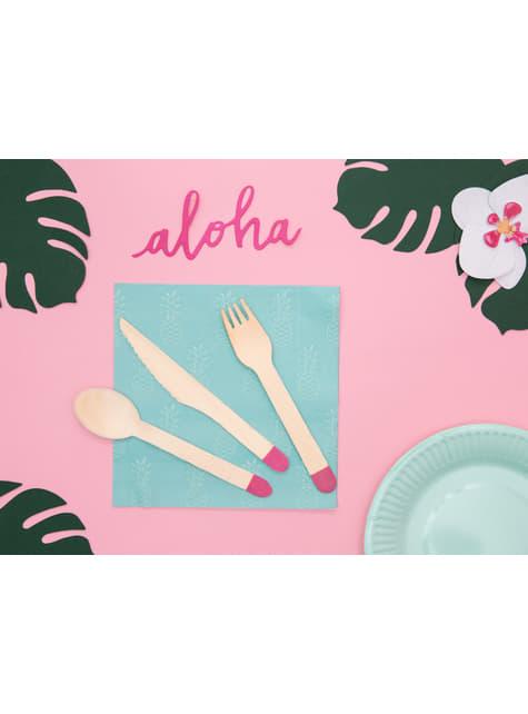 18 cubiertos rosas de madera (16cm) - Aloha Turquoise - original