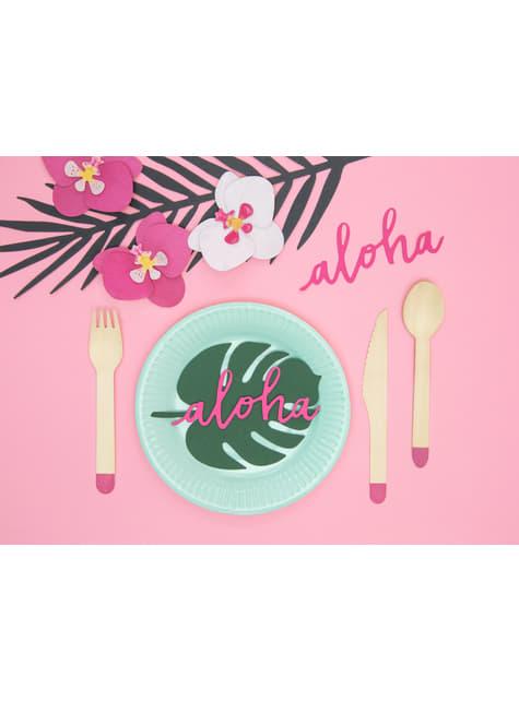 18 cubiertos rosas de madera (16cm) - Aloha Turquoise - para decorar todo durante tu fiesta