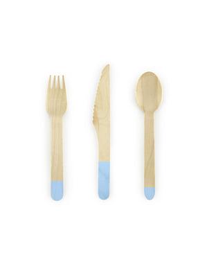 18-osainen, puinen aterinlajitelma pastellinsinisenä - Dusty Blue
