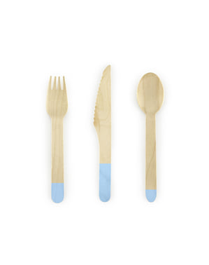 Zestaw drewniane sztućce pastelowy błękit 18 elementów - Dusty Blue