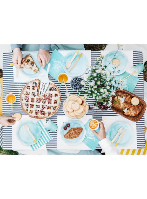 18 couverts en bois jaune foncé - Summer Time