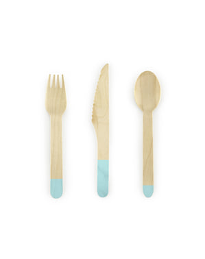 18-Piece Wooden Pastel Cutlery Set in Mint Green