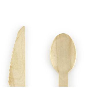 18-Piece Дървен Пастел Прибори за хранене, определени в мента зелено