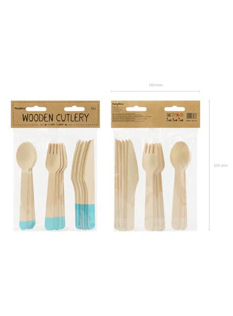 18-Piece Wooden Pastel Cutlery Set in Mint Green