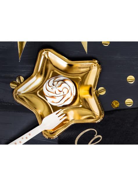 18 cubiertos con estrellas doradas de madera - New Year's Eve Collection