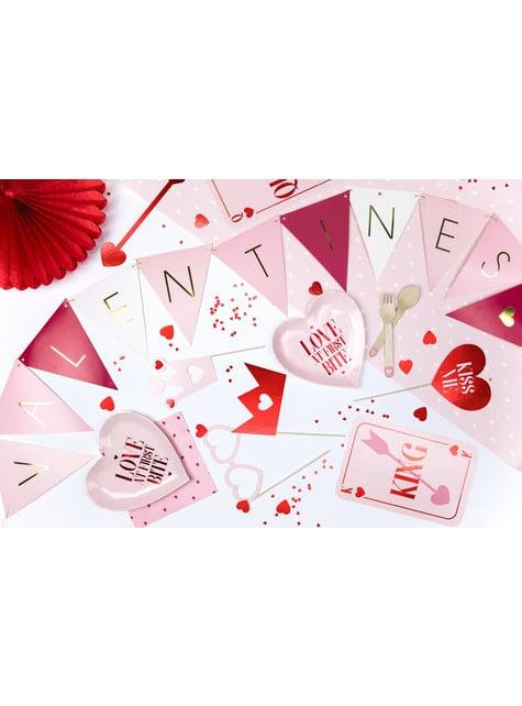 18 couverts roses avec cœur en bois - I'm No 1 Collection