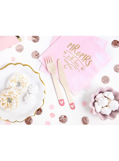 18 cubiertos rosas con corazón de madera - I'm No 1 Collection - para decorar todo durante tu fiesta