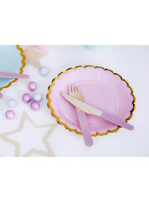 18 cubiertos multicolor pastel de madera - Pastelove Collection - original