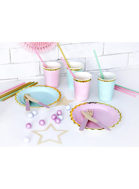 18 cubiertos multicolor pastel de madera - Pastelove Collection - para decorar todo durante tu fiesta