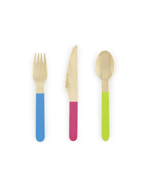 18-Piece Wooden Multicolor Cutlery Set - Monster Collection
