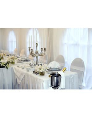 Fabric table cover in shiny white