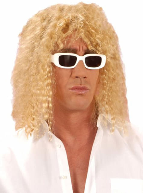 Curly blonde wig for a man