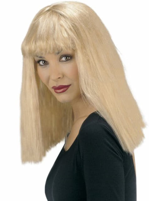 Straight blonde short wig with fringe
