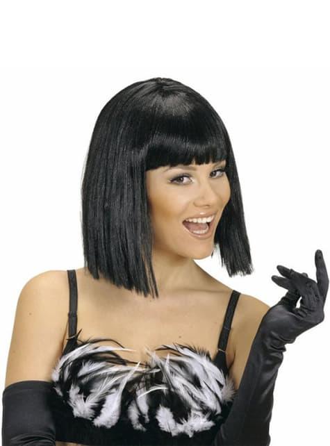 Black showgirl wig