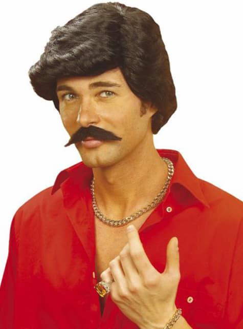 Casanova sort paryk med overskæg
