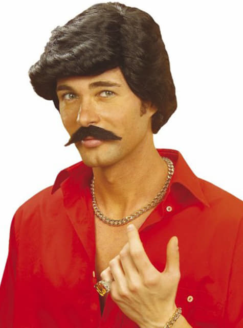 Peluca Casanova negra con bigote