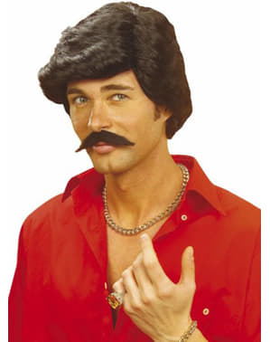 Casanova Perücke mit Schnurrbart schwarz