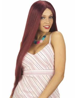 Extra lang rød håret parykk