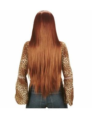 Extra pitkä kastanjanruskea peruukki