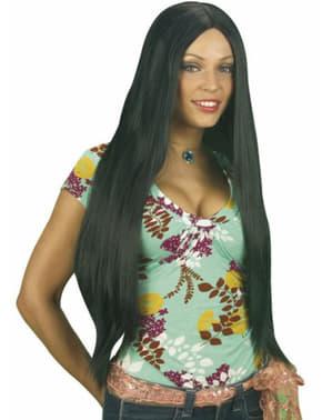 Extra pitkä musta peruukki