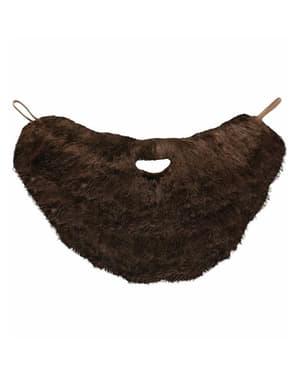 Stort kastanjefarget skjegg med bart