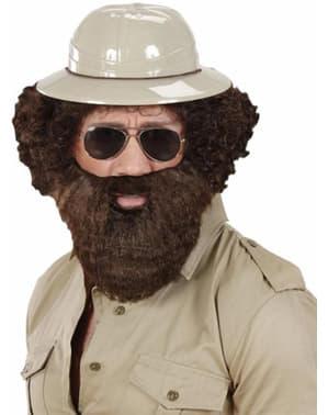 Barba poblada castaña con bigote