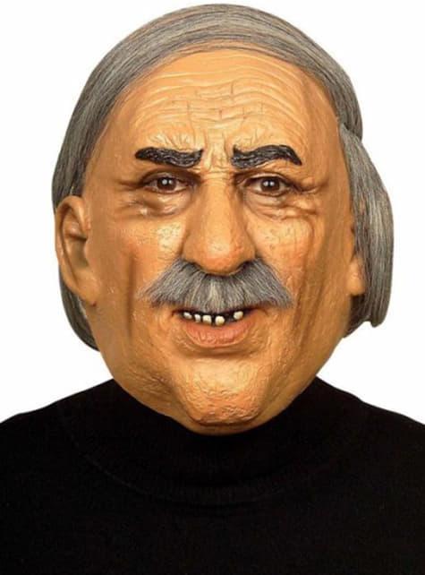 口ひげのマスクを持つ古い灰色の髪の男
