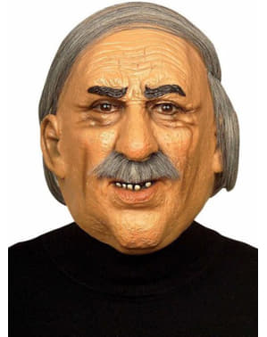 Старий сивого волосся людини з вусами маску