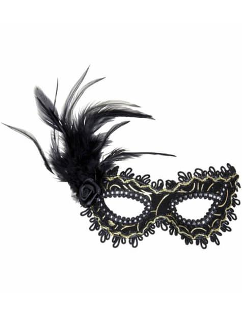 Maska na oczy czarna z kwiatem i z piórami