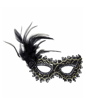 Black eye mask with flower and feathers