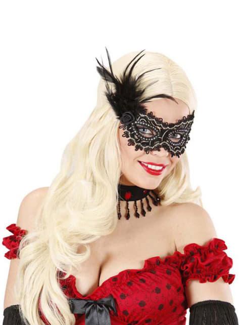 Zwart oogmasker met roosje en veren