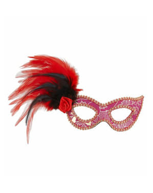 Pink eye mask with flower and feathers