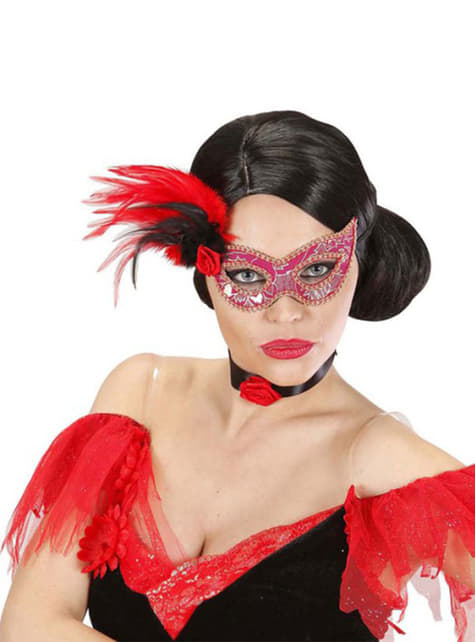 Antifaz rosa con flor y plumas - para tu disfraz