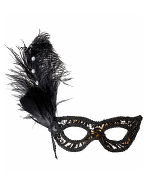Maska na oczy leoparda z kwiatem i z piórami