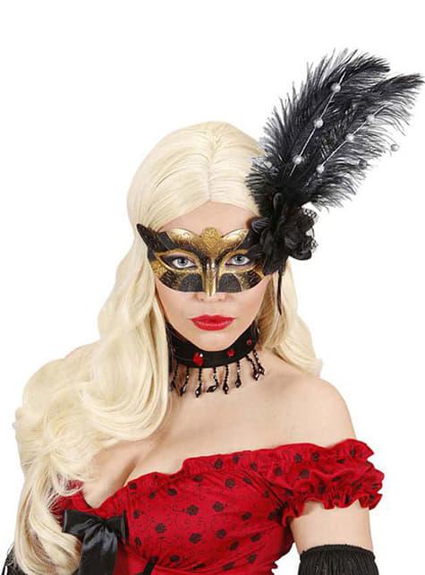 Antifaz dorado y negro con flor y plumas - para tu disfraz
