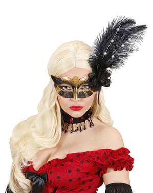 Maska na oczy czarno-złota z kwiatem i z piórami