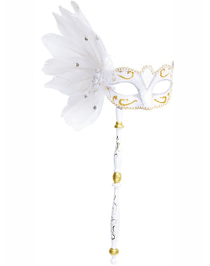 White Venetian eye mask with stick