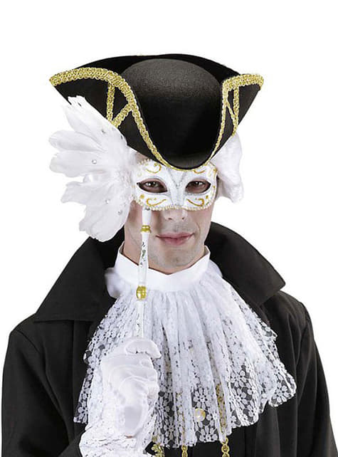 White Venetian eye mask with stick