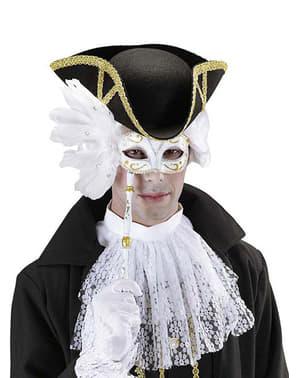 Бяла венецианска маска за очи с пръчка
