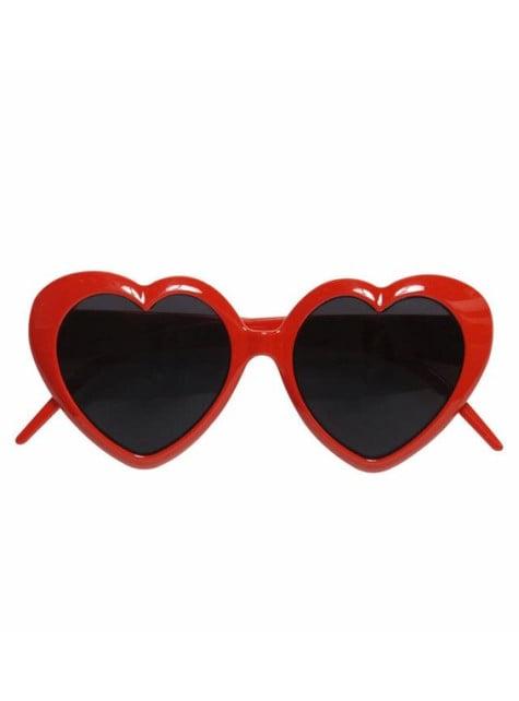 Gafas de corazón rojas