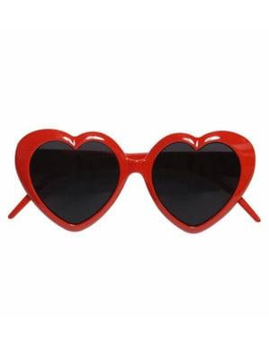 Óculos de coração vermelhos