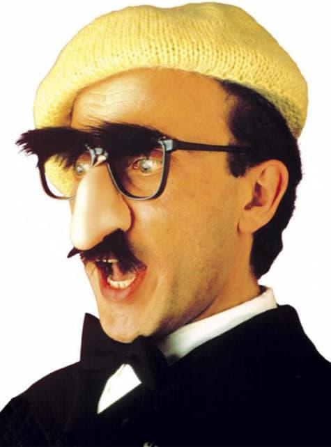Briller med næse, overskæg og øjenbryn