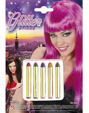 Minibarras de maquillaje con purpurina