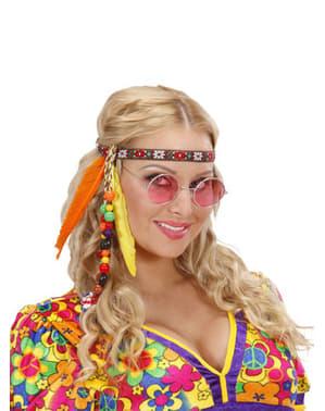Cinta de hippie con cuentas y plumas