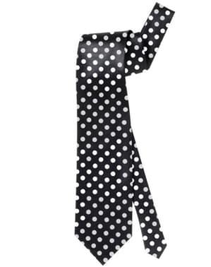 Zwarte stropdas met witte stippen