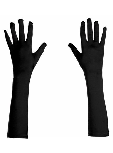 Guantes negros de raso elásticos