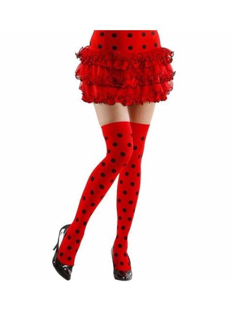 Medias rojas de topos negros