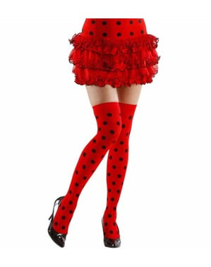 Red hold up tights with black polka dots