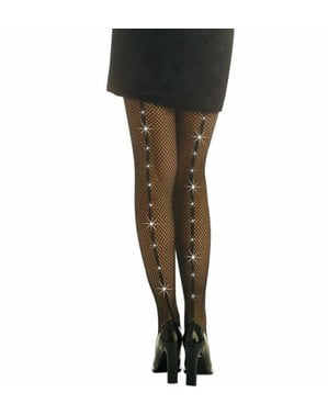 Mesh tights with rhinestones