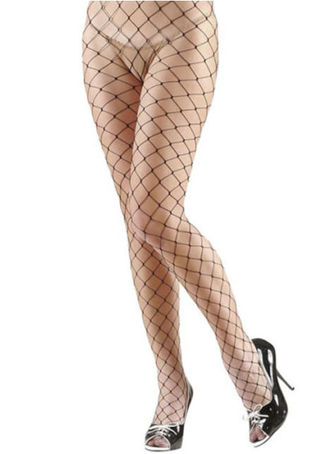 Black diamond mesh tights